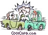 Traffic accident Vector Clip Art graphic