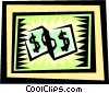 Vector Clip Art image  of a Dollar bills