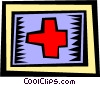 Vector Clip Art graphic  of a red cross