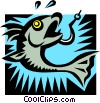 Vector Clipart graphic  of a hooked fish