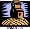 Vector Clipart illustration  of a farm house