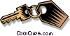 Vector Clipart illustration  of a key on a key-ring