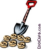 Vector Clip Art picture  of a shovel  digging for money