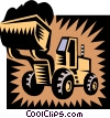 Vector Clip Art graphic  of a Front-end loader