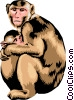 Monkey with baby monkey Vector Clipart illustration