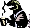dinosaur, drinking coffee Vector Clip Art picture