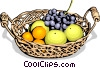 food, basket of fresh fruit Vector Clip Art graphic