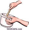 Hands preparing food Vector Clipart picture