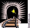 Vector Clipart image  of a train tunnel
