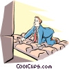 Vector Clip Art graphic  of a metaphor man kneeling on giant