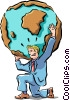 Vector Clipart image  of a weight of the world on his