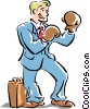 metaphor businessman boxing Vector Clip Art picture