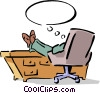 man sitting at his desk with his feet up Vector Clip Art picture