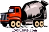 Vector Clip Art image  of a cement truck