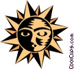 Sun face Vector Clipart graphic
