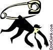 Vector Clip Art graphic  of a safety pin