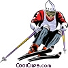 Vector Clip Art image  of an Alpine skier