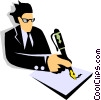Vector Clipart picture  of a man writing