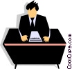 man at desk Vector Clipart graphic