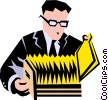 Vector Clip Art picture  of a man at filing cabinet