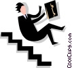 man falling down stairs Vector Clipart illustration