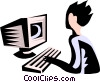 Vector Clipart graphic  of a person at work