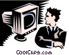Vector Clip Art image  of a man at computer