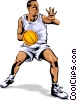 Basketball player dribbling ball Vector Clipart image