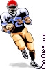Vector Clipart illustration  of a Football player running the