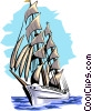 Vector Clip Art image  of a Tall ship