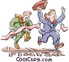 Metaphor businessmen racing to the finish Vector Clip Art image