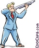 man firing gun Vector Clip Art graphic