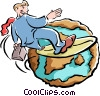Vector Clipart picture  of a Businessman surfing the world