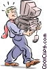 Vector Clipart image  of a man carrying PC