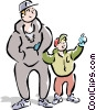 Dad and son going for a walk Vector Clipart illustration