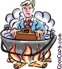 in hot water Vector Clip Art picture