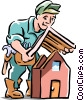 Roofer installing roof Vector Clipart illustration