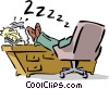 businessman sleeping at his desk Vector Clipart image