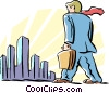 Vector Clip Art image  of a man walking to work