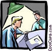 Vector Clip Art image  of a men working