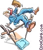 Vector Clip Art image  of a vaulting over obstacles