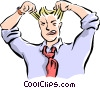 Vector Clip Art graphic  of a man pulling his hair out