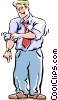 Vector Clip Art image  of a rolling up his sleeves
