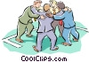 metaphor businessmen in a huddle Vector Clip Art picture