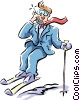 Vector Clipart illustration  of a metaphor businessman skiing