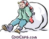 Vector Clip Art graphic  of a Child playing in snow