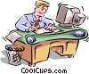 Vector Clip Art graphic  of a busy office