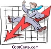 Vector Clip Art graphic  of a riding the trends/graph