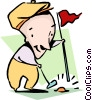 Vector Clipart image  of a playing golf