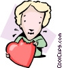 eating a heart Vector Clip Art image
